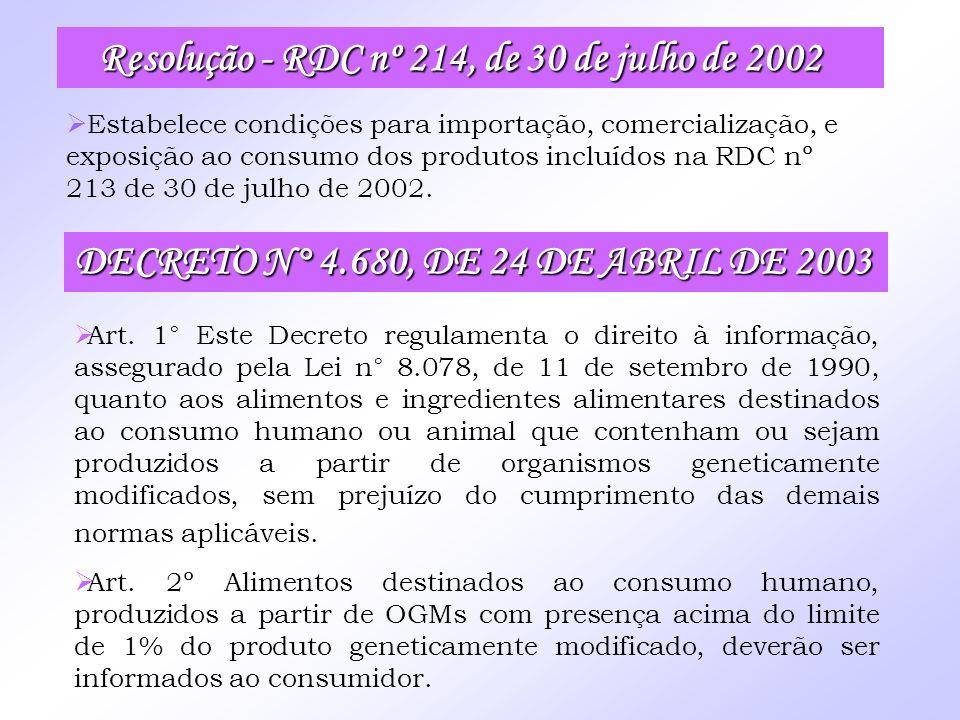 Resolução - RDC nº 214, de 30 de julho de 2002 Resolução - RDC nº 214, de 30 de julho de 2002 Estabelece condições para importação, comercialização, e