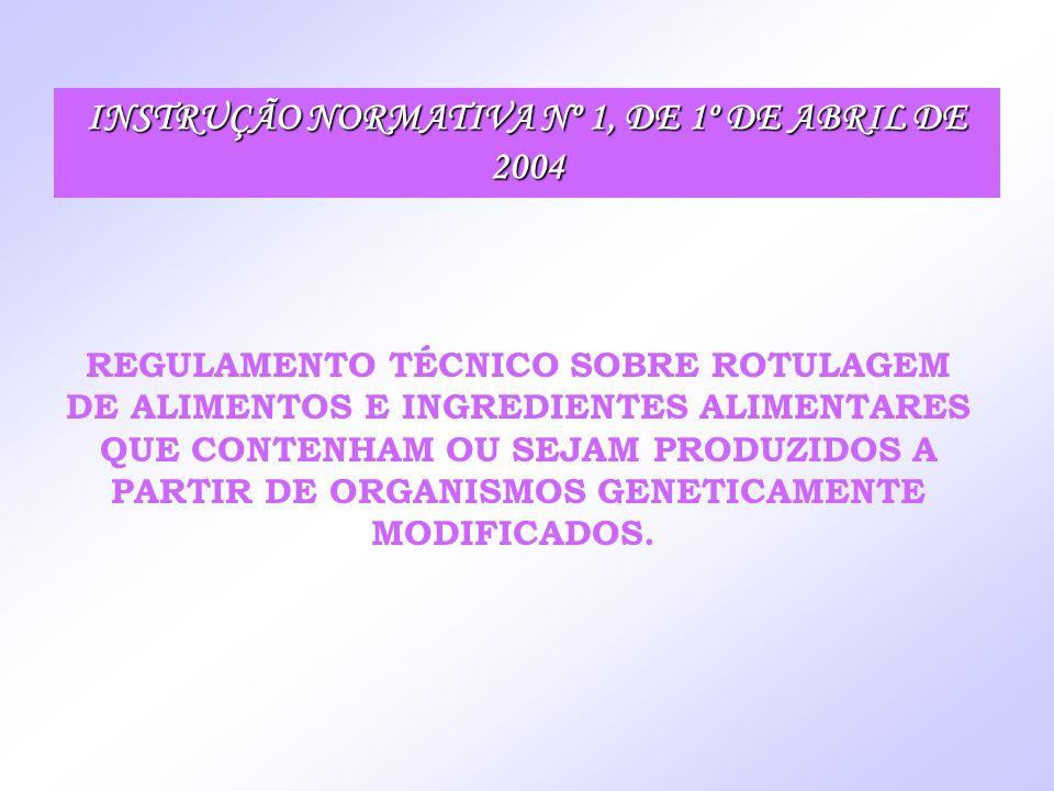 INSTRUÇÃO NORMATIVA Nº 1, DE 1º DE ABRIL DE 2004 REGULAMENTO TÉCNICO SOBRE ROTULAGEM DE ALIMENTOS E INGREDIENTES ALIMENTARES QUE CONTENHAM OU SEJAM PR