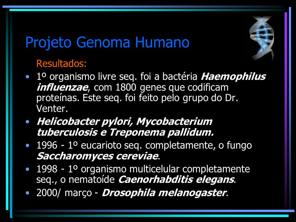 Projeto Genoma Humano Resultados: 1º organismo livre seq. foi a bactéria Haemophilus influenzae, com 1800 genes que codificam proteínas. Este seq. foi