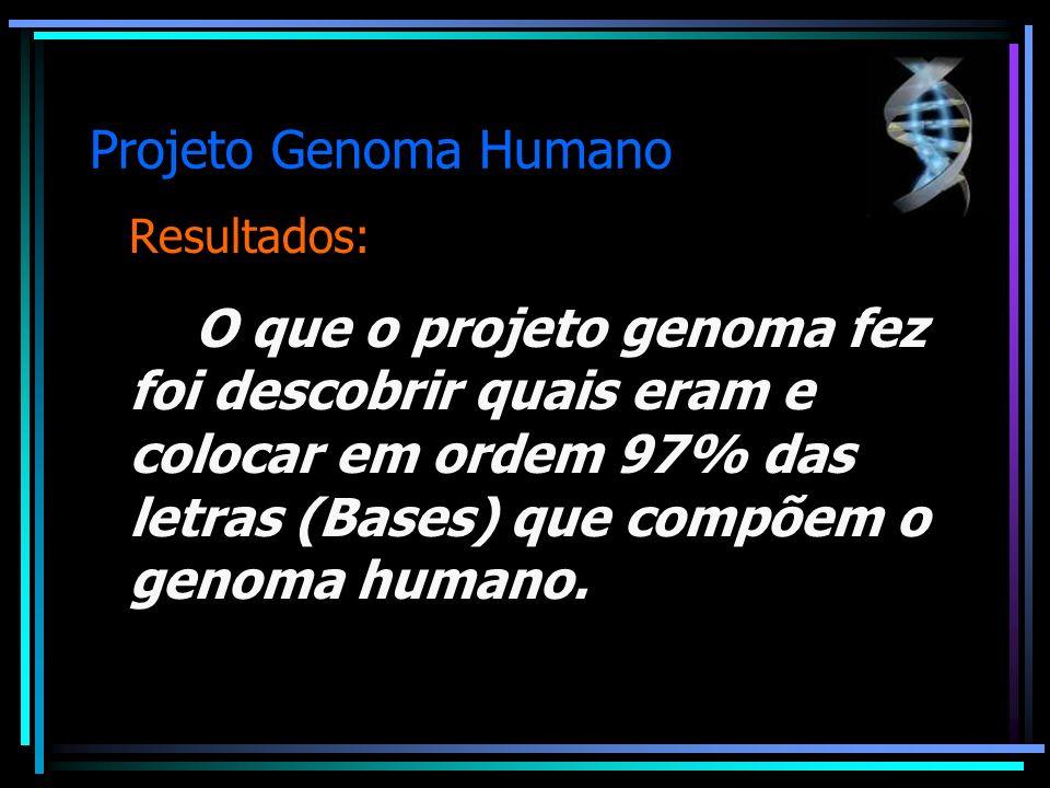 Projeto Genoma Humano Resultados: O que o projeto genoma fez foi descobrir quais eram e colocar em ordem 97% das letras (Bases) que compõem o genoma h