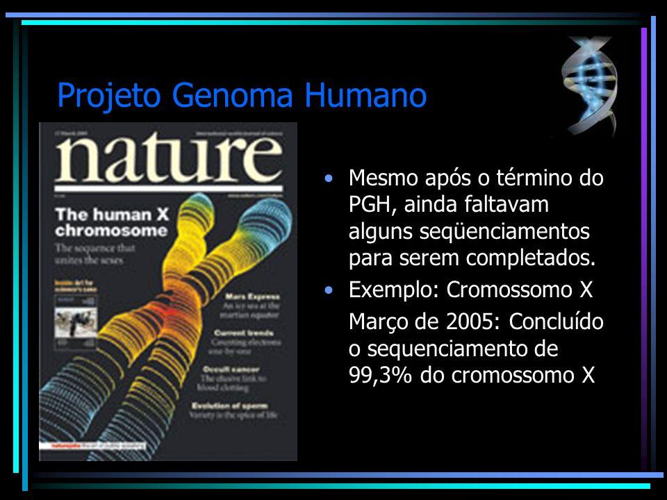 Projeto Genoma Humano Mesmo após o término do PGH, ainda faltavam alguns seqüenciamentos para serem completados. Exemplo: Cromossomo X Março de 2005: