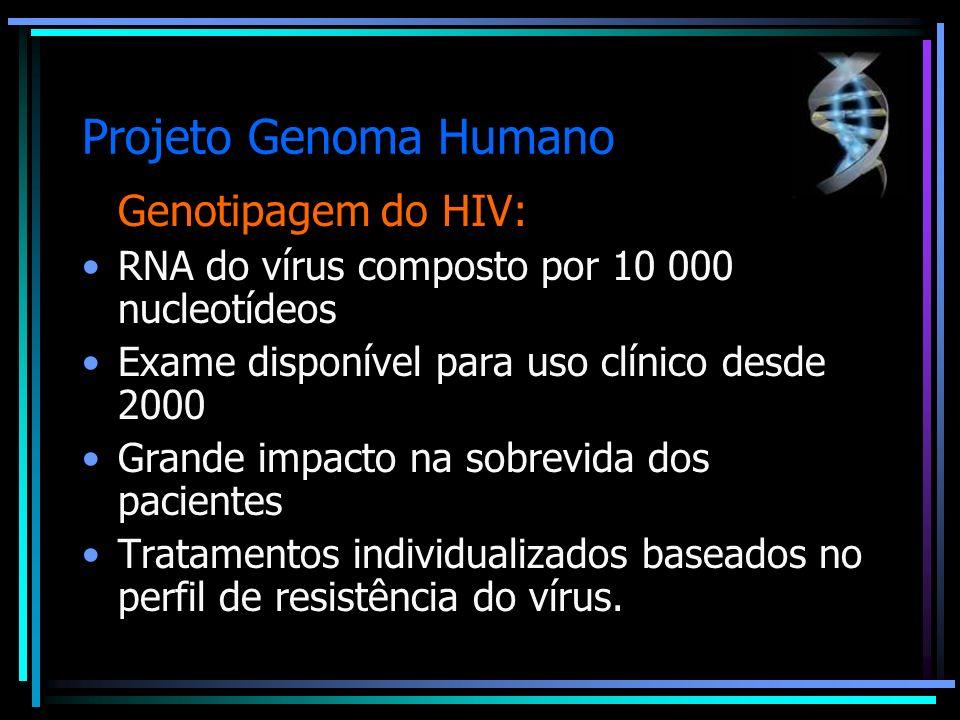 Projeto Genoma Humano Genotipagem do HIV: RNA do vírus composto por 10 000 nucleotídeos Exame disponível para uso clínico desde 2000 Grande impacto na