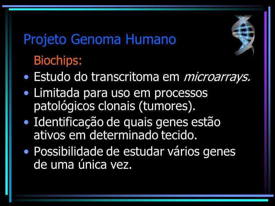 Projeto Genoma Humano Biochips: Estudo do transcritoma em microarrays. Limitada para uso em processos patológicos clonais (tumores). Identificação de