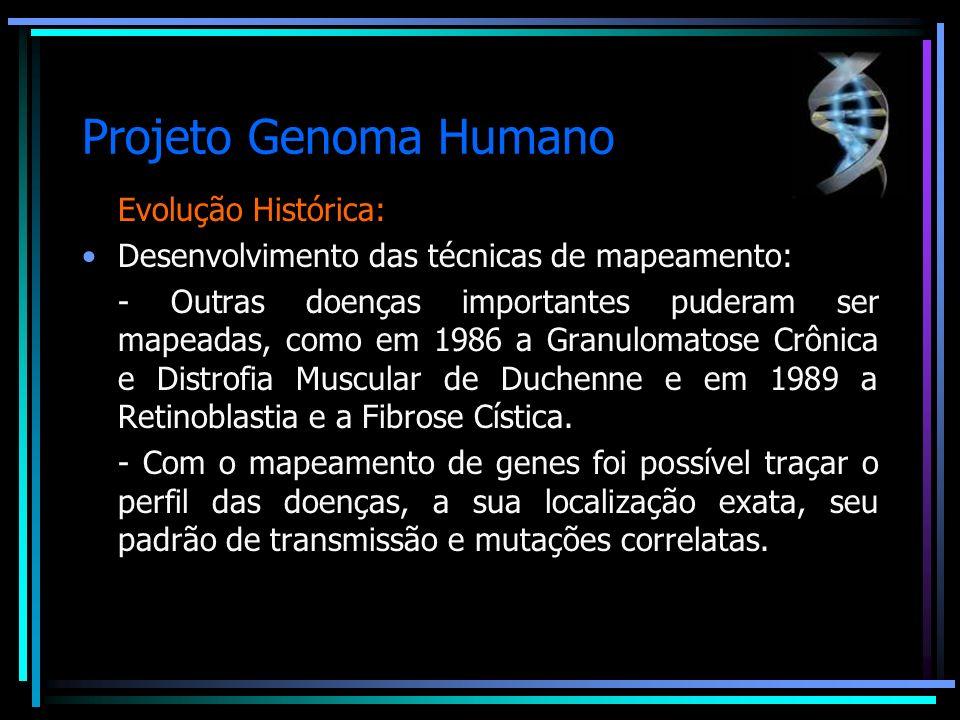 Projeto Genoma Humano Evolução Histórica: Desenvolvimento das técnicas de mapeamento: - Outras doenças importantes puderam ser mapeadas, como em 1986