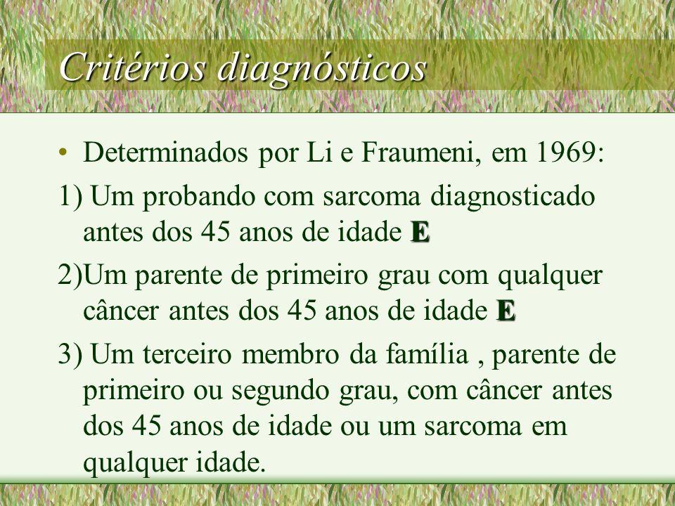 Critérios diagnósticos Determinados por Li e Fraumeni, em 1969: E 1) Um probando com sarcoma diagnosticado antes dos 45 anos de idade E E 2)Um parente