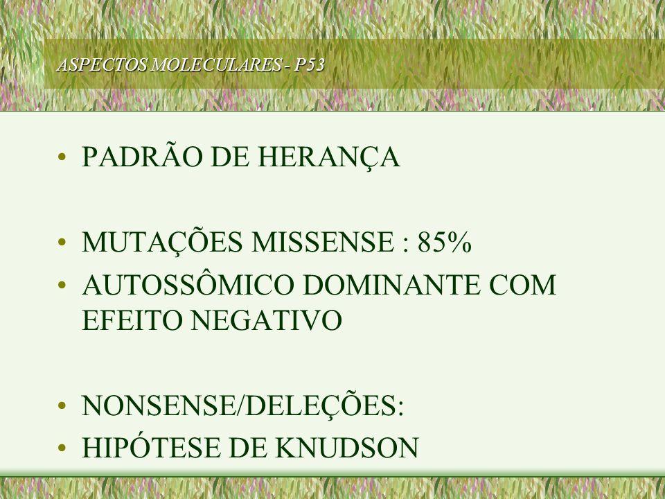 ASPECTOS MOLECULARES - P53 PADRÃO DE HERANÇA MUTAÇÕES MISSENSE : 85% AUTOSSÔMICO DOMINANTE COM EFEITO NEGATIVO NONSENSE/DELEÇÕES: HIPÓTESE DE KNUDSON