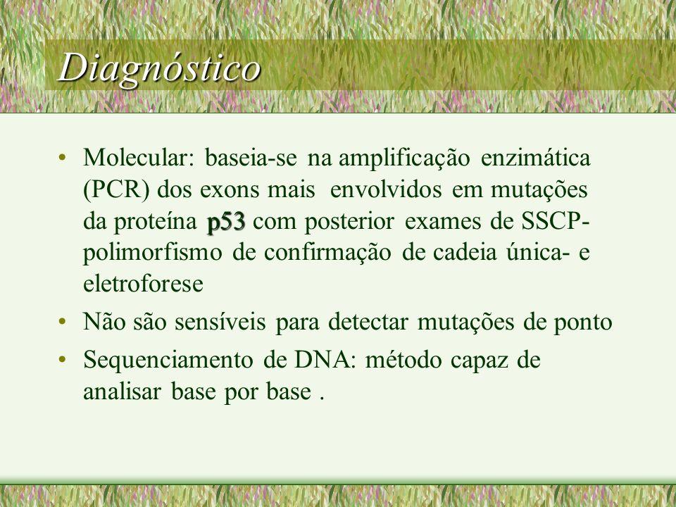 Diagnóstico p53Molecular: baseia-se na amplificação enzimática (PCR) dos exons mais envolvidos em mutações da proteína p53 com posterior exames de SSC