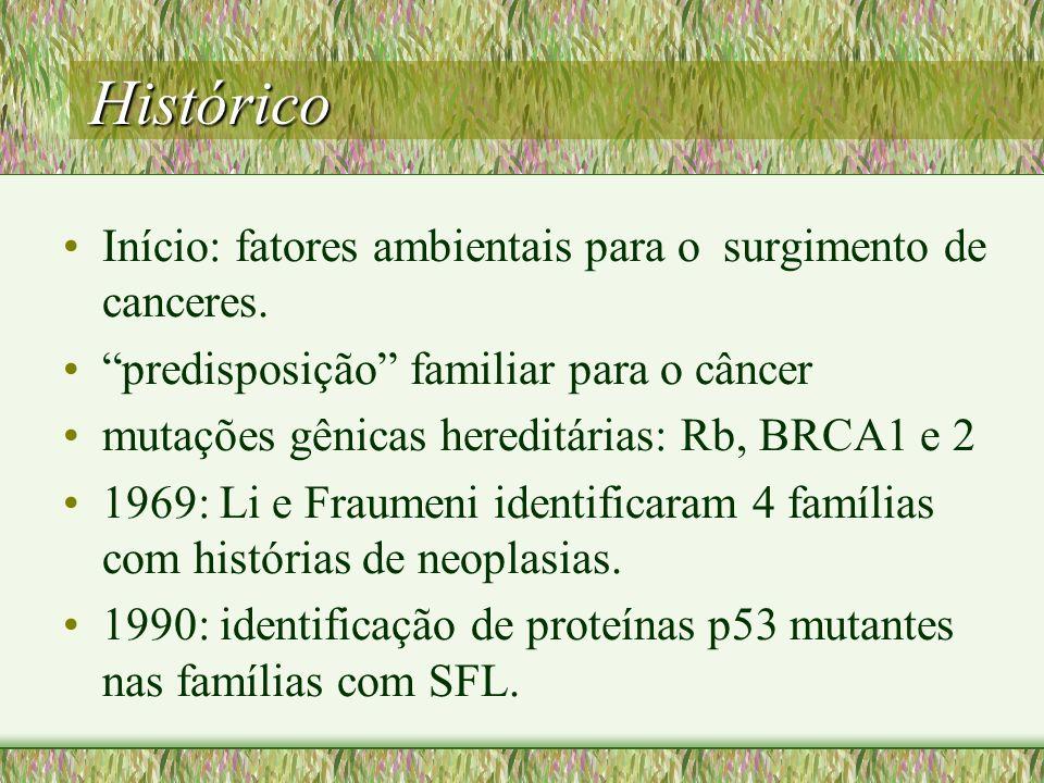 Histórico Início: fatores ambientais para o surgimento de canceres. predisposição familiar para o câncer mutações gênicas hereditárias: Rb, BRCA1 e 2