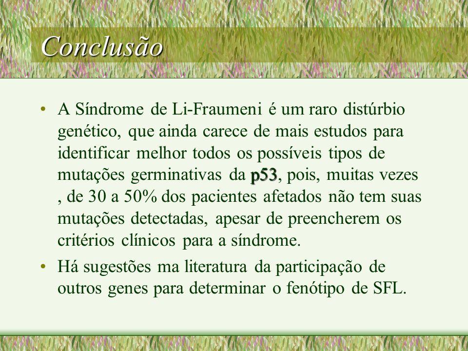 Conclusão p53A Síndrome de Li-Fraumeni é um raro distúrbio genético, que ainda carece de mais estudos para identificar melhor todos os possíveis tipos