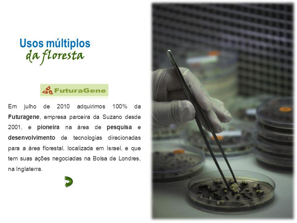 Usos múltiplos da floresta Em julho de 2010 adquirimos 100% da Futuragene, empresa parceira da Suzano desde 2001, e pioneira na área de pesquisa e des