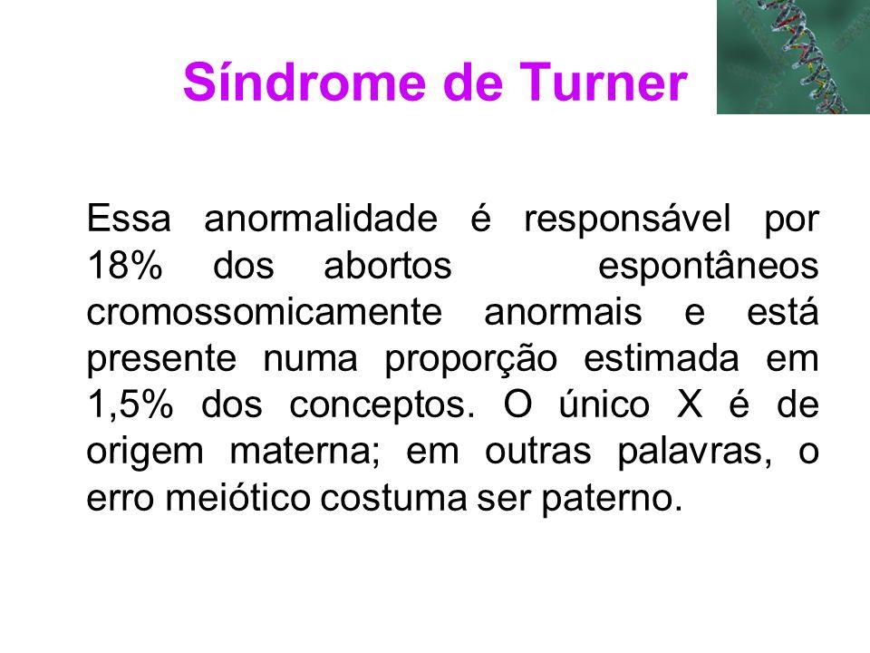 Essa anormalidade é responsável por 18% dos abortos espontâneos cromossomicamente anormais e está presente numa proporção estimada em 1,5% dos concept