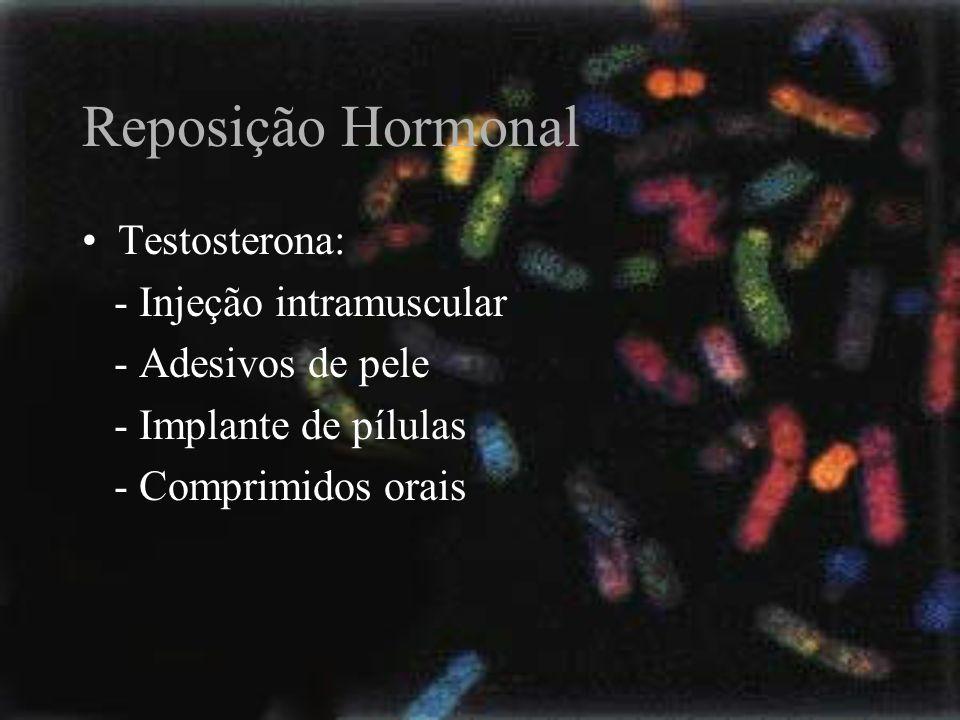 Reposição Hormonal Testosterona: - Injeção intramuscular - Adesivos de pele - Implante de pílulas - Comprimidos orais
