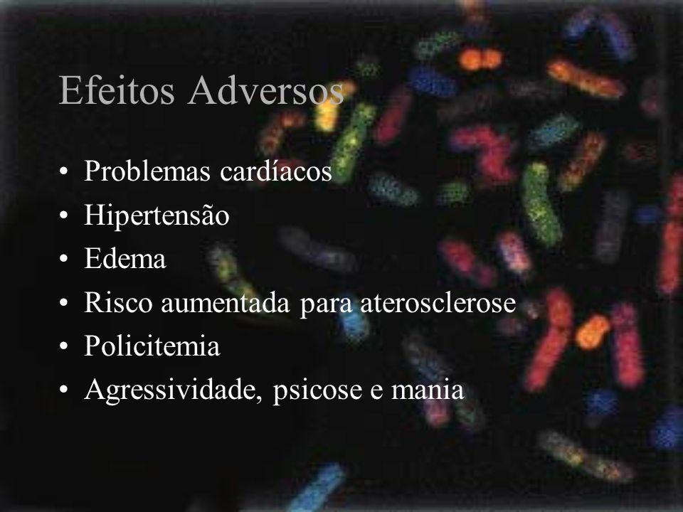 Efeitos Adversos Problemas cardíacos Hipertensão Edema Risco aumentada para aterosclerose Policitemia Agressividade, psicose e mania