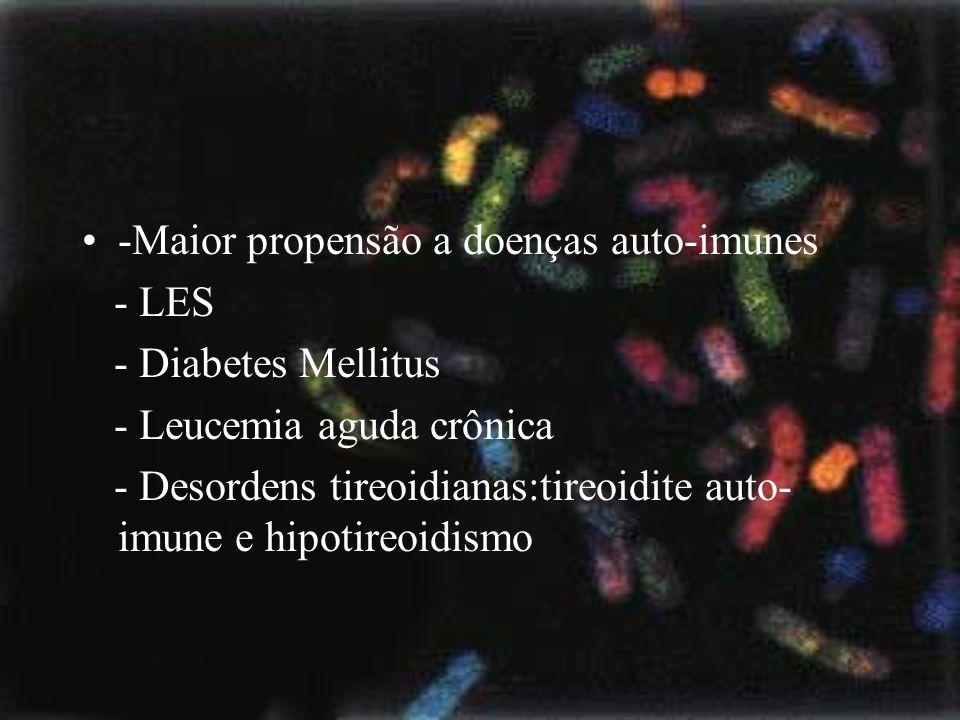-Maior propensão a doenças auto-imunes - LES - Diabetes Mellitus - Leucemia aguda crônica - Desordens tireoidianas:tireoidite auto- imune e hipotireoi