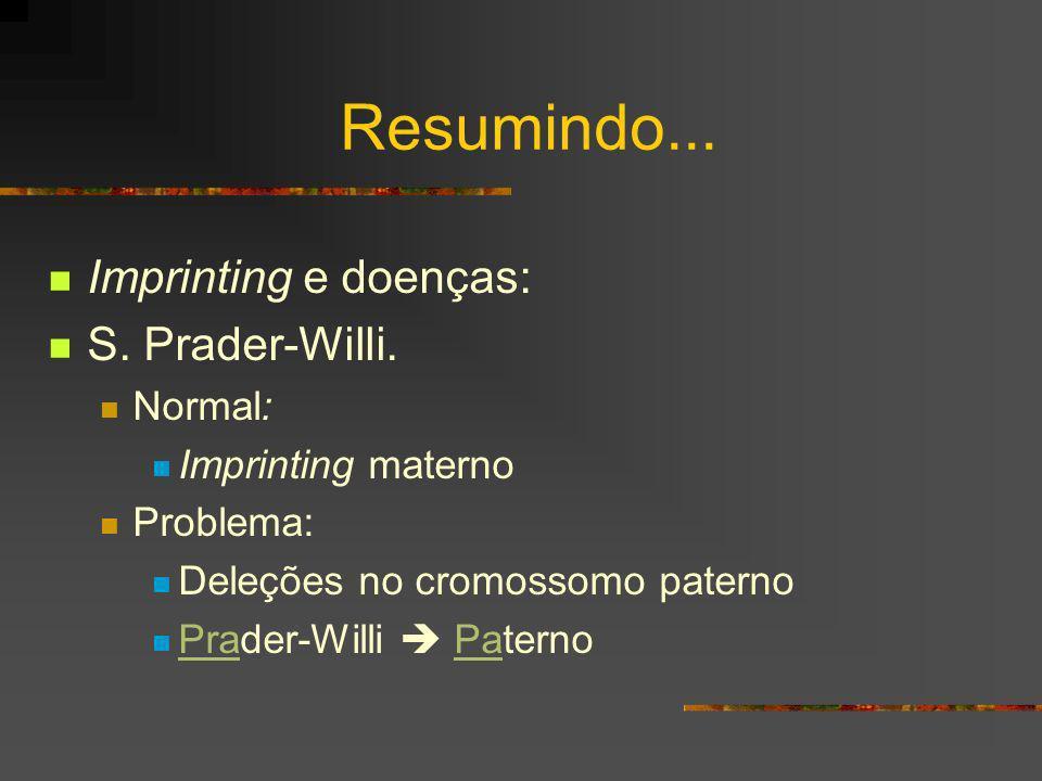 Resumindo... Imprinting e doenças: S. Prader-Willi. Normal: Imprinting materno Problema: Deleções no cromossomo paterno Prader-Willi Paterno