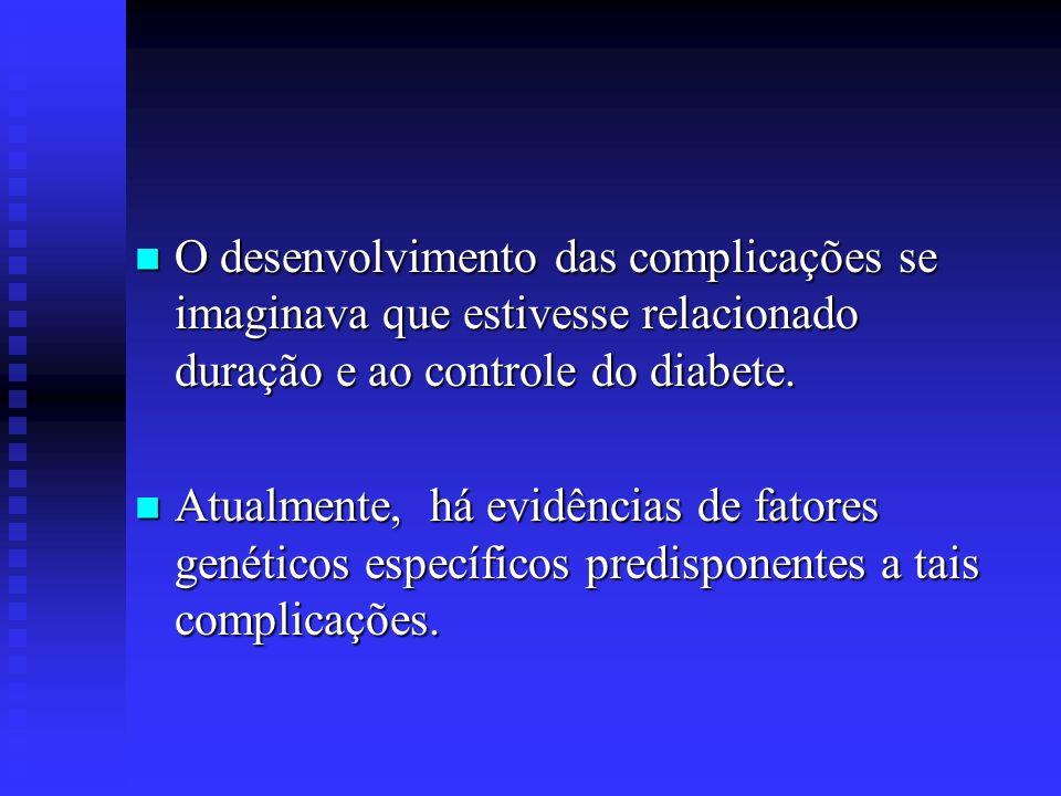 O desenvolvimento das complicações se imaginava que estivesse relacionado duração e ao controle do diabete. O desenvolvimento das complicações se imag