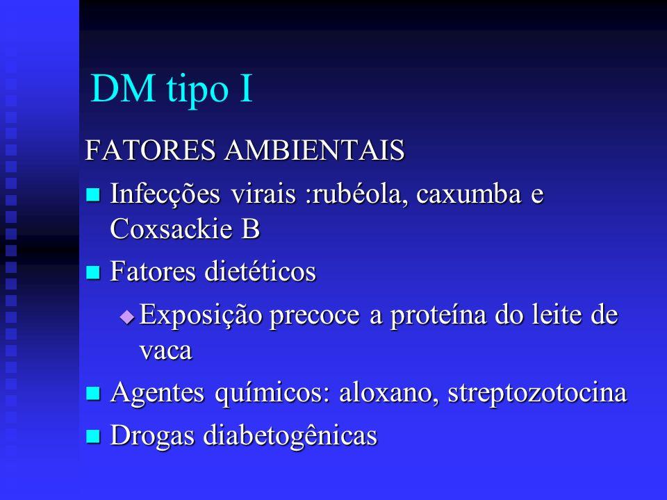 DM tipo I FATORES AMBIENTAIS Infecções virais :rubéola, caxumba e Coxsackie B Infecções virais :rubéola, caxumba e Coxsackie B Fatores dietéticos Fato