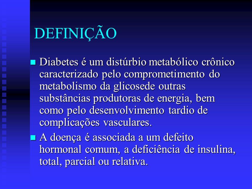 DEFINIÇÃO Diabetes é um distúrbio metabólico crônico caracterizado pelo comprometimento do metabolismo da glicosede outras substâncias produtoras de e