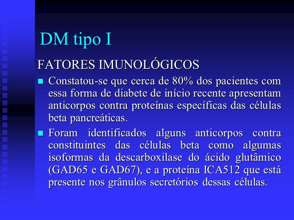 DM tipo I FATORES IMUNOLÓGICOS Constatou-se que cerca de 80% dos pacientes com essa forma de diabete de início recente apresentam anticorpos contra pr