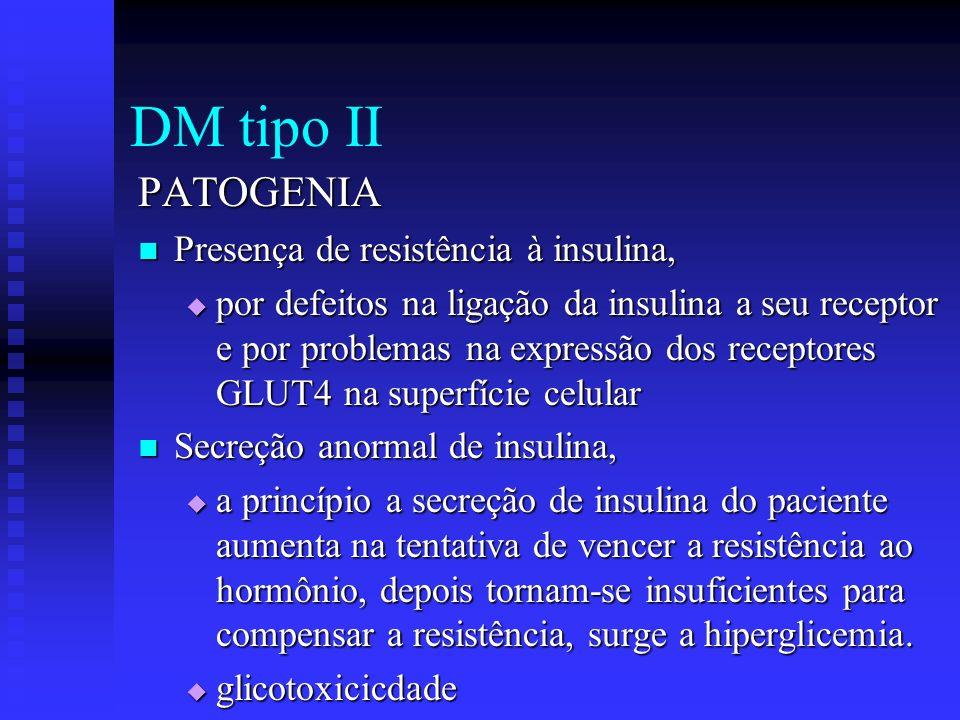 DM tipo II PATOGENIA Presença de resistência à insulina, Presença de resistência à insulina, por defeitos na ligação da insulina a seu receptor e por