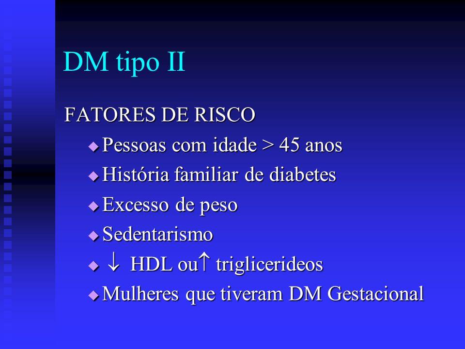 DM tipo II FATORES DE RISCO Pessoas com idade > 45 anos Pessoas com idade > 45 anos História familiar de diabetes História familiar de diabetes Excess