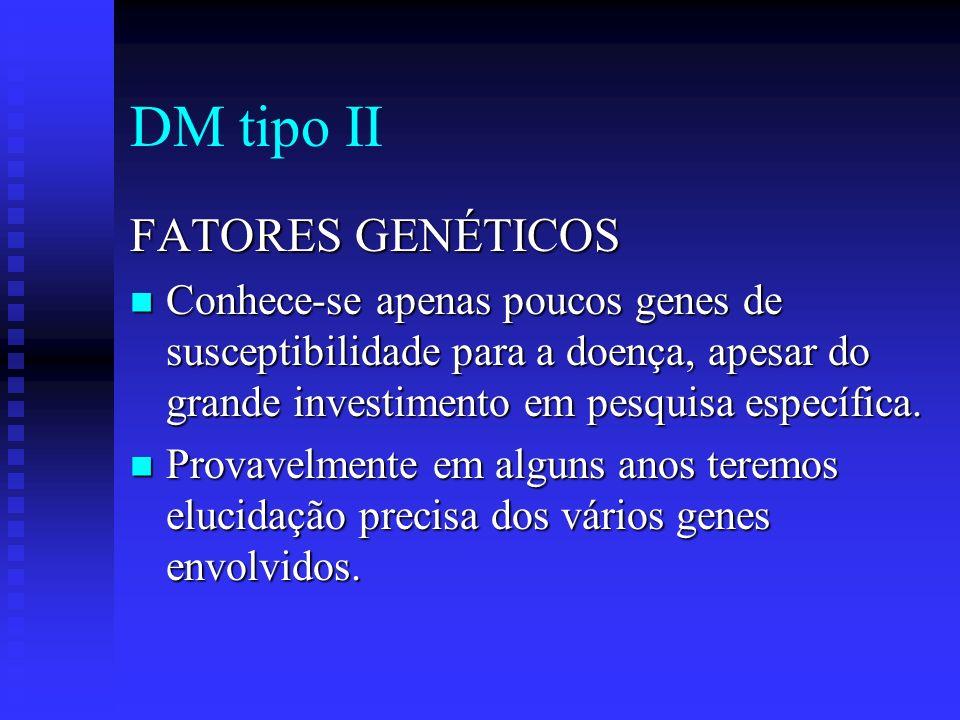 DM tipo II FATORES GENÉTICOS Conhece-se apenas poucos genes de susceptibilidade para a doença, apesar do grande investimento em pesquisa específica. C