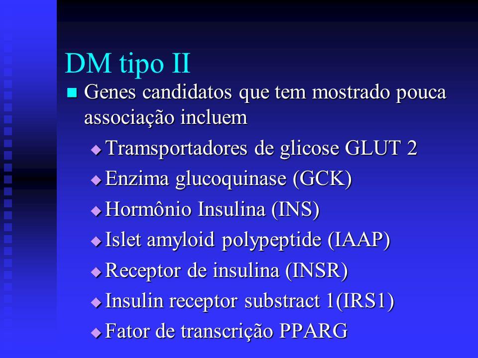 DM tipo II Genes candidatos que tem mostrado pouca associação incluem Genes candidatos que tem mostrado pouca associação incluem Tramsportadores de gl