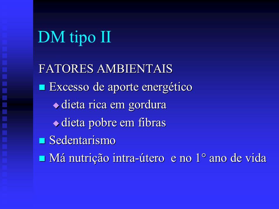 FATORES AMBIENTAIS Excesso de aporte energético Excesso de aporte energético dieta rica em gordura dieta rica em gordura dieta pobre em fibras dieta p