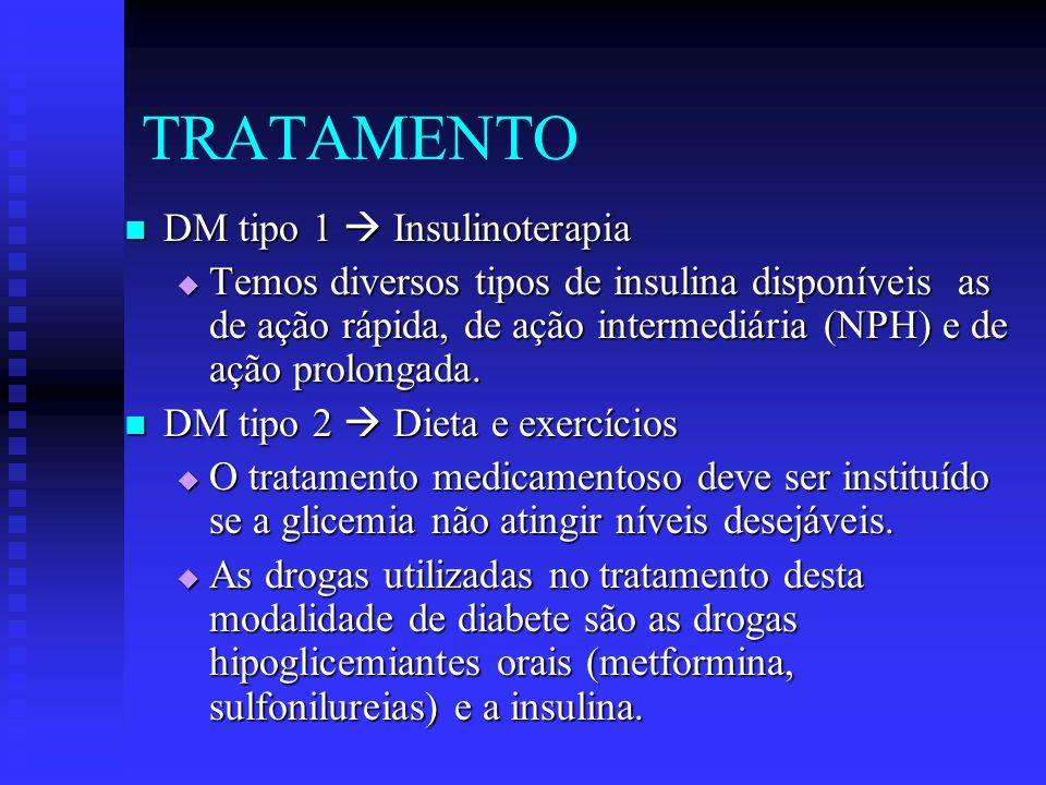 TRATAMENTO DM tipo 1 Insulinoterapia DM tipo 1 Insulinoterapia Temos diversos tipos de insulina disponíveis as de ação rápida, de ação intermediária (