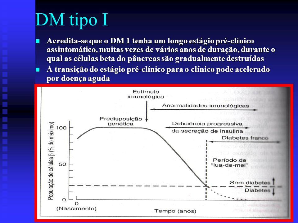 DM tipo I Acredita-se que o DM 1 tenha um longo estágio pré-clínico assintomático, muitas vezes de vários anos de duração, durante o qual as células b