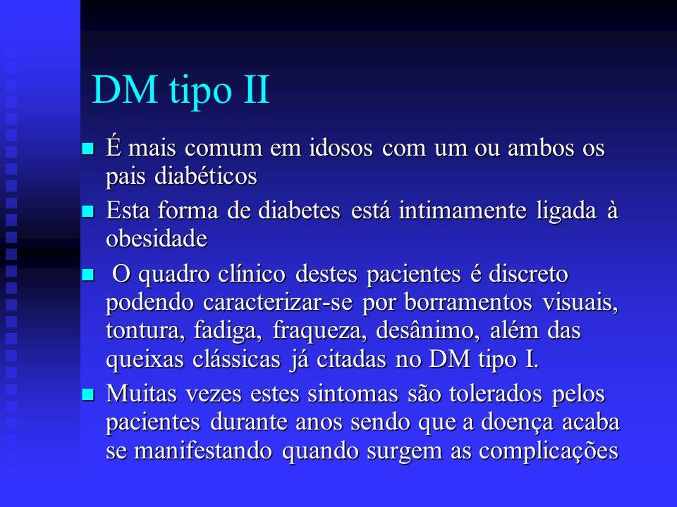 DM tipo II É mais comum em idosos com um ou ambos os pais diabéticos É mais comum em idosos com um ou ambos os pais diabéticos Esta forma de diabetes