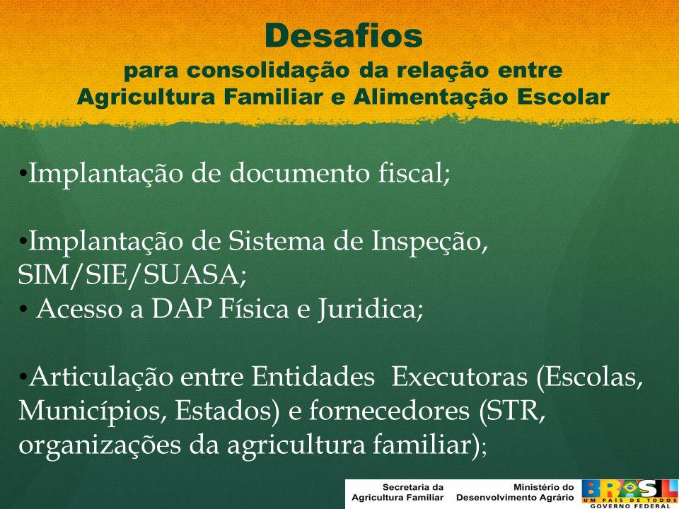 Desafios para consolidação da relação entre Agricultura Familiar e Alimentação Escolar Implantação de documento fiscal; Implantação de Sistema de Insp