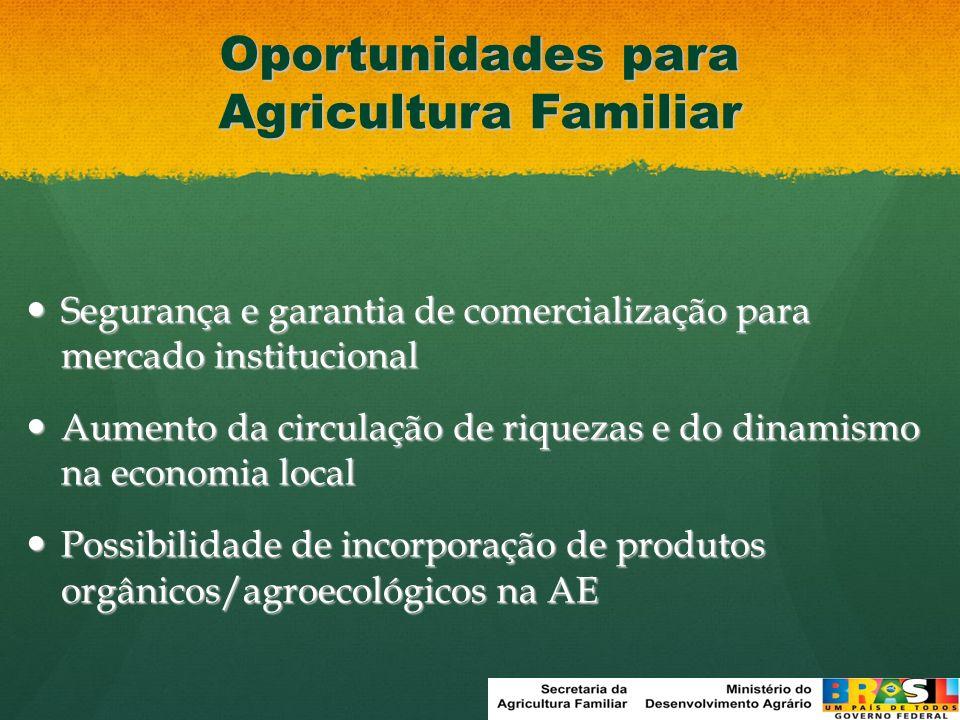 Ação estratégica do Programa Fome Zero Compra com dispensa de licitação Formação de estoques públicos e da AF Distribuição de alimentos a pessoas em insegurança alimentar Ação Interministerial (MDS, MDA, MF, MPOG, MAPA,MEC) 2003 a 2008 - R$ 2,131 bilhões Utiliza orçamento do FNDE (mínimo de 30% para aquisição de produtos da agricultura familiar) 47 milhões de alunos 190 mil escolas Base Legal: Lei Nº 11.947/2009 Resolução 38/2009 AlimentaçãoEscolar PAA Dispensa de licitação Atores sociais já envolvidos Ter limite financeiro por agricultor Necessidade de articulação Acesso ao mercado institucional Valorização da agricultura familiar Contribuição do PAA para a Alimentação Escolar