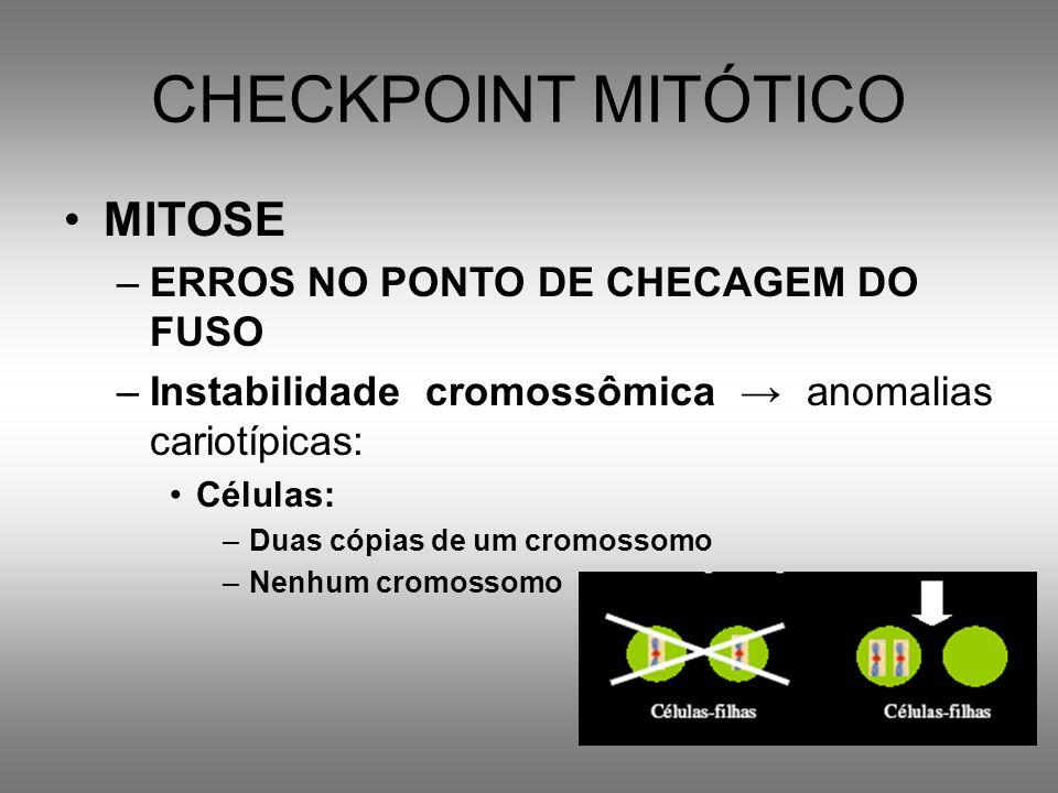 CHECKPOINT MITÓTICO MITOSE –ERROS NO PONTO DE CHECAGEM DO FUSO –Instabilidade cromossômica anomalias cariotípicas: Células: –Duas cópias de um cromoss