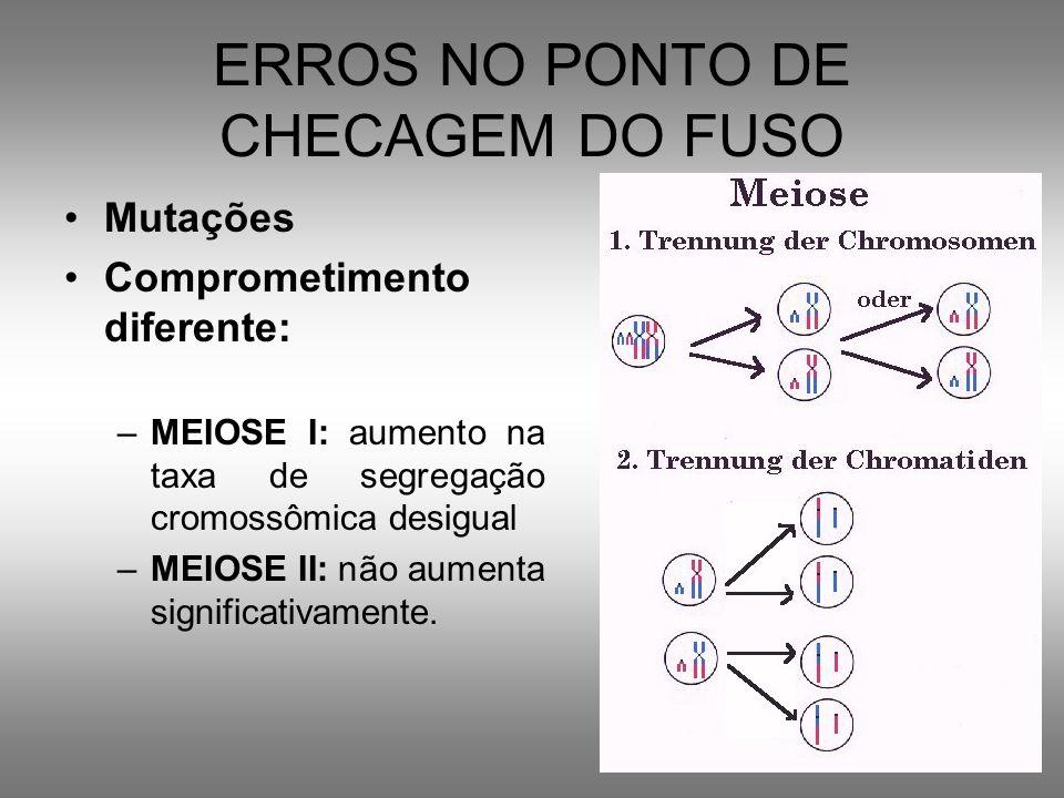 ERROS NO PONTO DE CHECAGEM DO FUSO Mutações Comprometimento diferente: –MEIOSE I: aumento na taxa de segregação cromossômica desigual –MEIOSE II: não