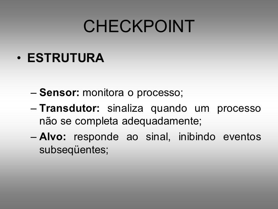 CHECKPOINT ESTRUTURA –Sensor: monitora o processo; –Transdutor: sinaliza quando um processo não se completa adequadamente; –Alvo: responde ao sinal, i