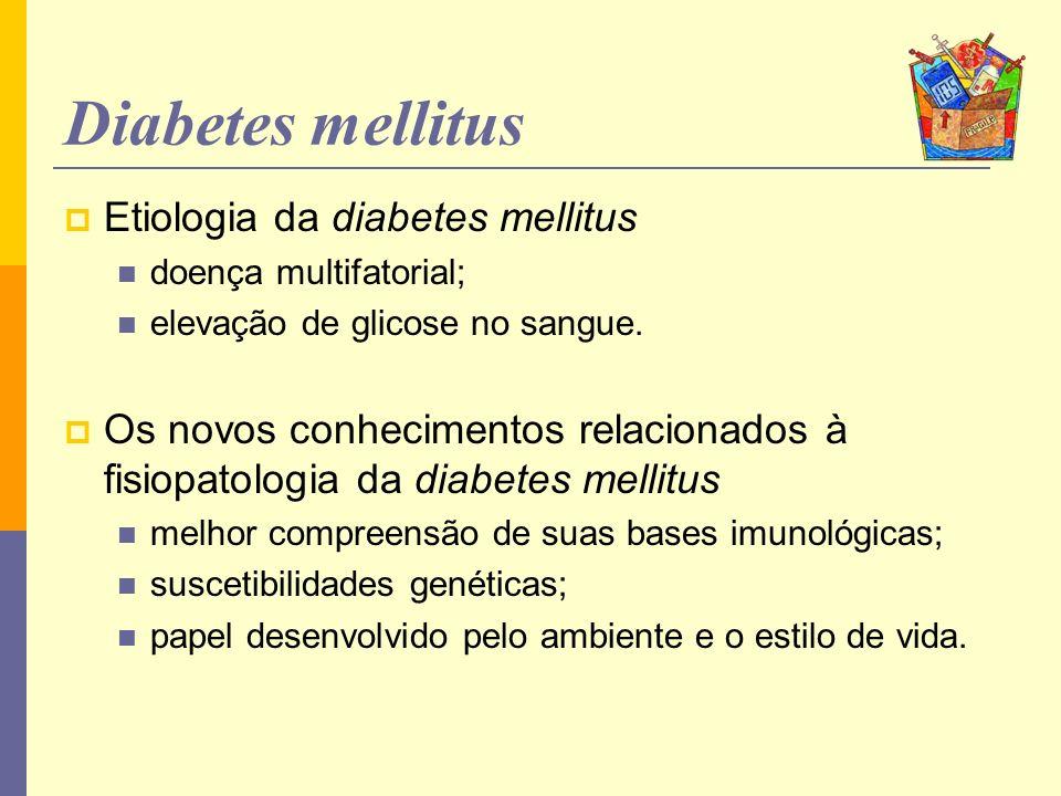 Diabetes Tipo 1 Tratamento O transplante pancreático ou de ilhotas pode curar o DM1; escassez de tecido / complicações da imunossupressão Intenso controle dos níveis de glicose sangüínea pela injeção de insulina exógena; tratamento da maioria dos pacientes Existem diferentes tipos de preparação de insulina velocidade com que é absorvida do tecido subcutâneo para o sangue (início da ação) tempo necessário para que toda a insulina injetada seja absorvida (duração da ação).