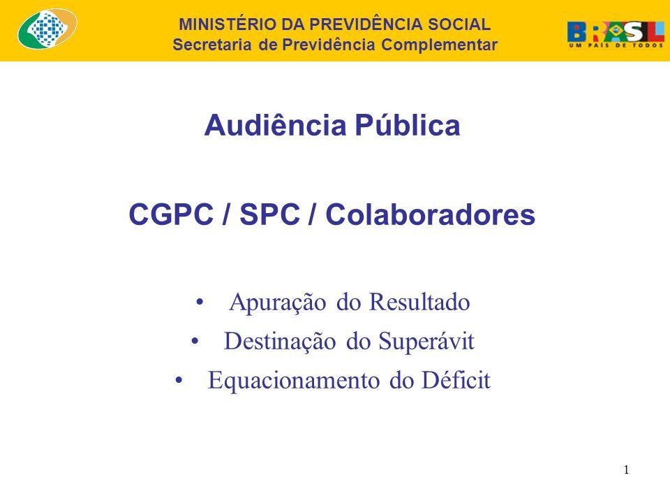 MINISTÉRIO DA PREVIDÊNCIA SOCIAL Secretaria de Previdência Complementar 1 Audiência Pública CGPC / SPC / Colaboradores Apuração do Resultado Destinação do Superávit Equacionamento do Déficit