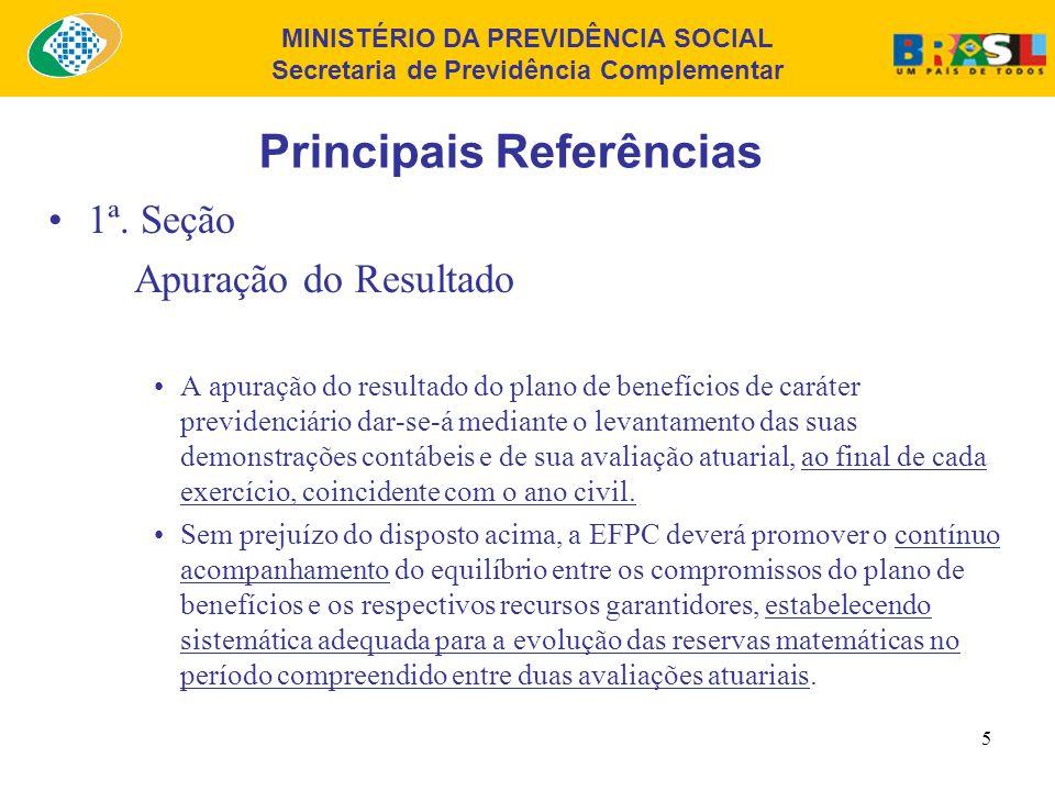 MINISTÉRIO DA PREVIDÊNCIA SOCIAL Secretaria de Previdência Complementar 5 Principais Referências 1ª.