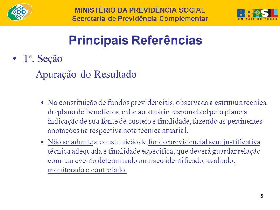 MINISTÉRIO DA PREVIDÊNCIA SOCIAL Secretaria de Previdência Complementar 7 Principais Referências 1ª. Seção Apuração do Resultado Os recursos garantido