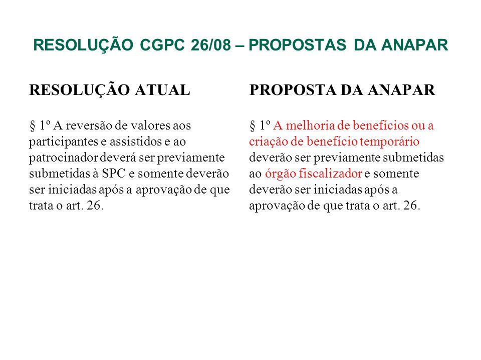 RESOLUÇÃO CGPC 26/08 – PROPOSTAS DA ANAPAR RESOLUÇÃO ATUAL § 1º A reversão de valores aos participantes e assistidos e ao patrocinador deverá ser prev