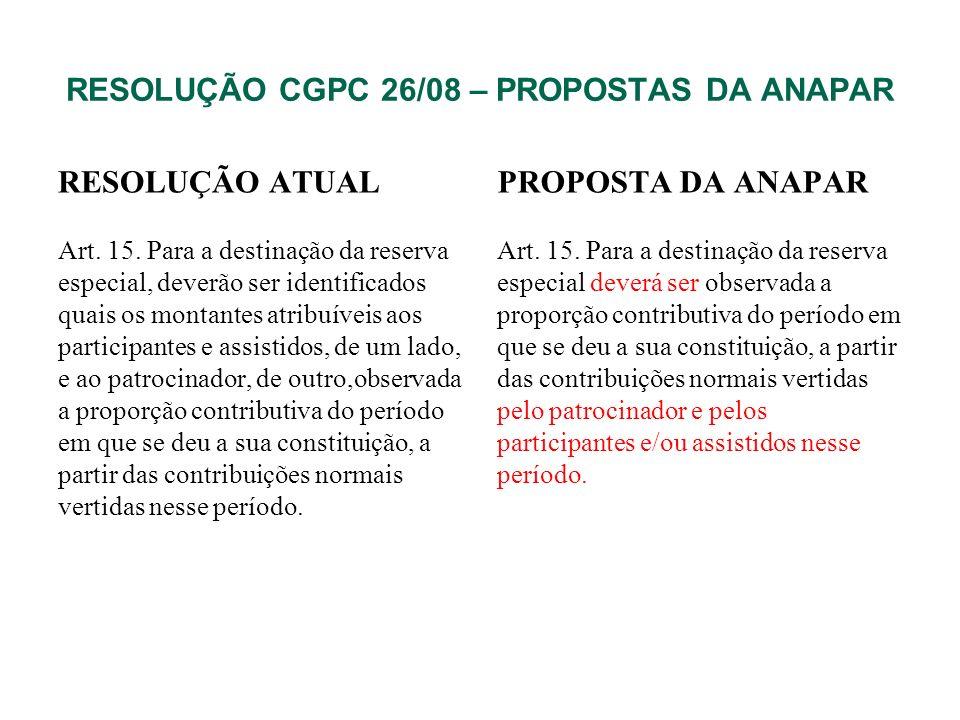 RESOLUÇÃO CGPC 26/08 – PROPOSTAS DA ANAPAR RESOLUÇÃO ATUAL Art. 15. Para a destinação da reserva especial, deverão ser identificados quais os montante