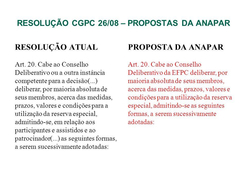 RESOLUÇÃO CGPC 26/08 – PROPOSTAS DA ANAPAR RESOLUÇÃO ATUAL Art. 20. Cabe ao Conselho Deliberativo ou a outra instância competente para a decisão(...)