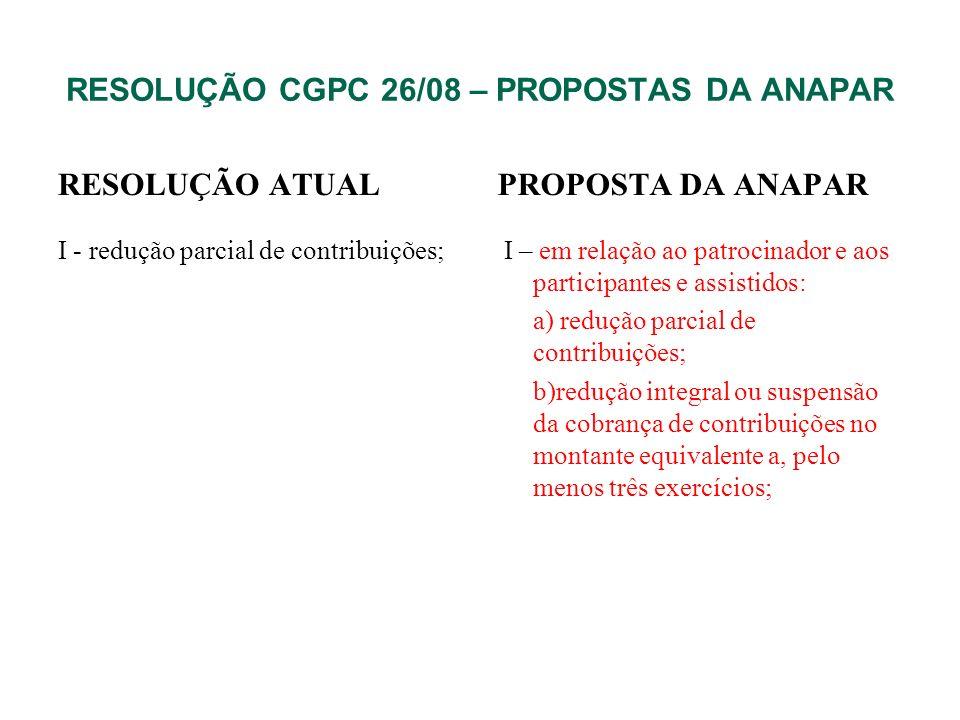 RESOLUÇÃO CGPC 26/08 – PROPOSTAS DA ANAPAR RESOLUÇÃO ATUAL I - redução parcial de contribuições; PROPOSTA DA ANAPAR I – em relação ao patrocinador e a