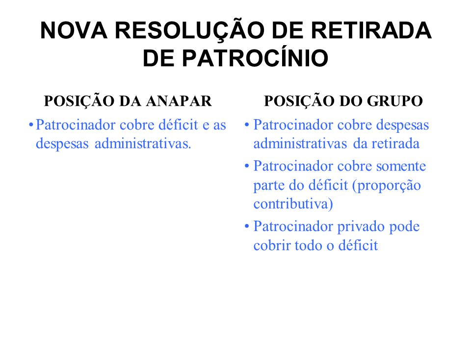 NOVA RESOLUÇÃO DE RETIRADA DE PATROCÍNIO POSIÇÃO DA ANAPAR Os planos de benefícios devem ser mantidos sem patrocinador.