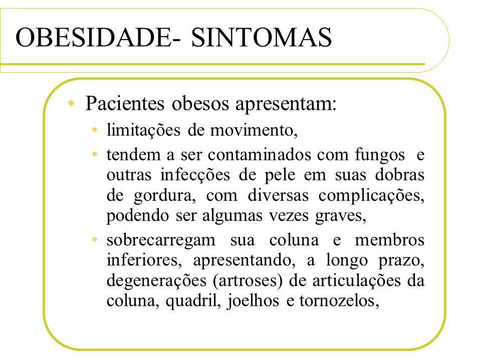 OBESIDADE- SINTOMAS Pacientes obesos apresentam: limitações de movimento, tendem a ser contaminados com fungos e outras infecções de pele em suas dobr