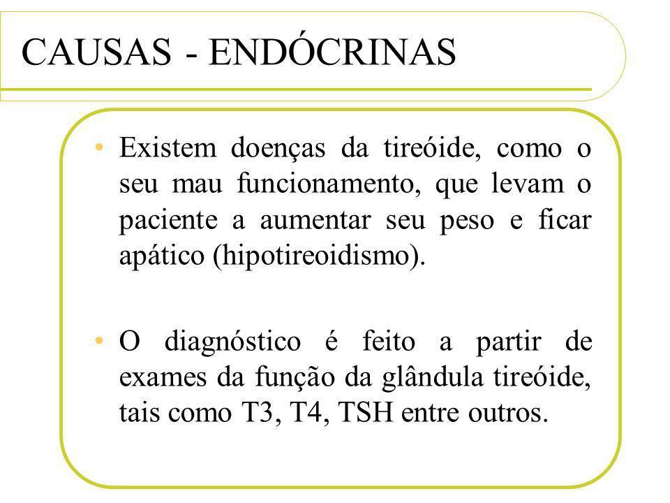 CAUSAS - ENDÓCRINAS Existem doenças da tireóide, como o seu mau funcionamento, que levam o paciente a aumentar seu peso e ficar apático (hipotireoidis
