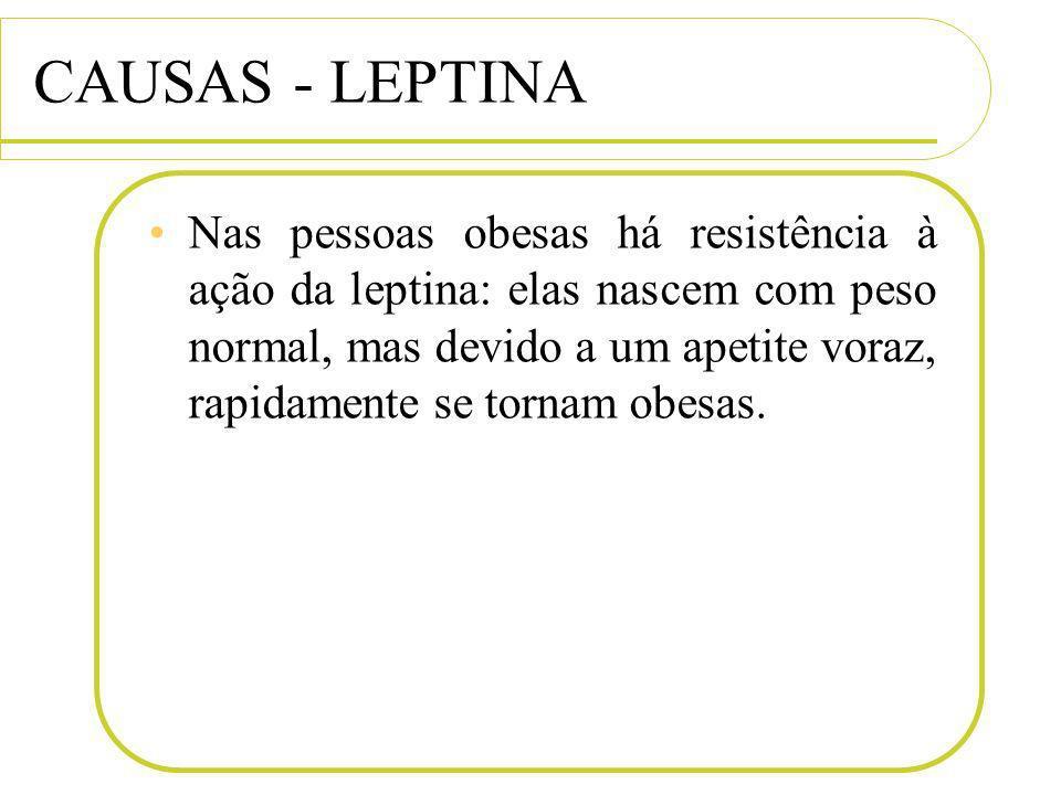 CAUSAS - LEPTINA Nas pessoas obesas há resistência à ação da leptina: elas nascem com peso normal, mas devido a um apetite voraz, rapidamente se torna