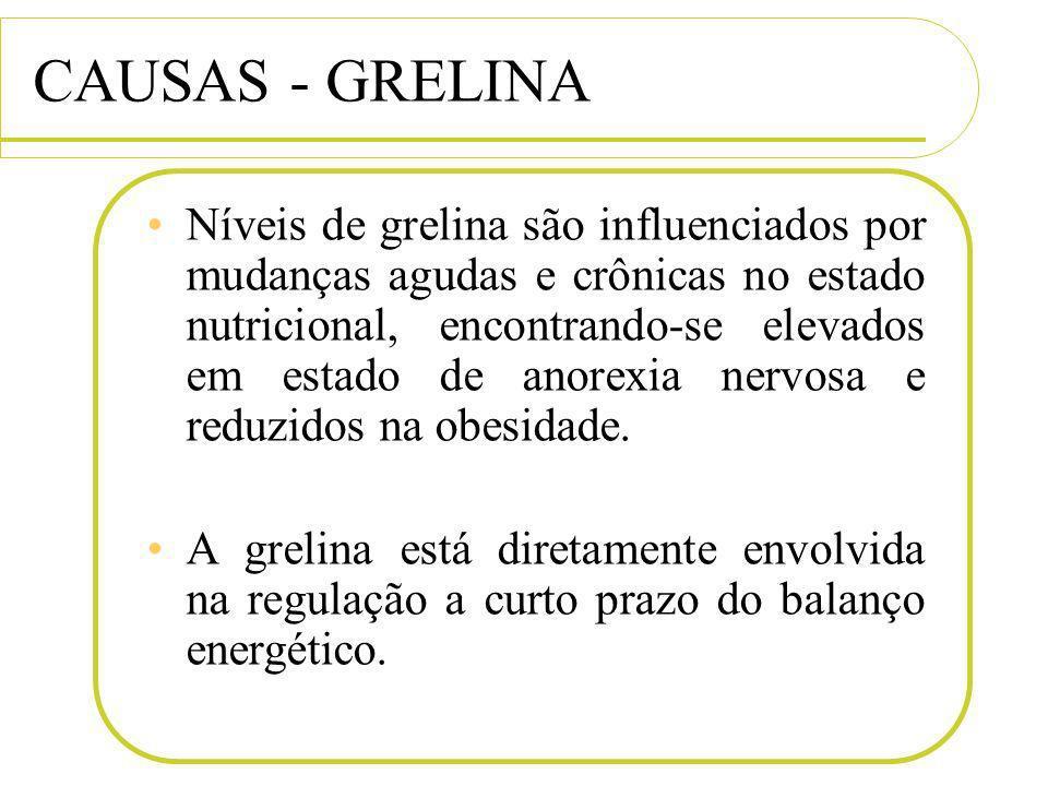 CAUSAS - GRELINA Níveis de grelina são influenciados por mudanças agudas e crônicas no estado nutricional, encontrando-se elevados em estado de anorex