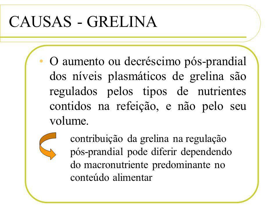 CAUSAS - GRELINA O aumento ou decréscimo pós-prandial dos níveis plasmáticos de grelina são regulados pelos tipos de nutrientes contidos na refeição,